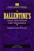 Ballentineand039s Legal Dictionary/thesaurus General Business By Jonathon Lynton New