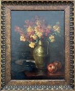 Karl Andree Still Life Flowers Tin Cup Apples Art Nouveau Antique 1919