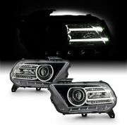 For 2010-2014 Ford Mustang Black Led Headlights Headlamps Replacement Rh+lh Set