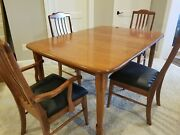 Pristine Solid Cherry Amish Table W/3 Leaves And 4 Chair Set / Table Opens To 8 Ft