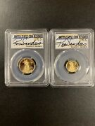 2014-w Pcgs Pr70 Gold Eagle 10and5 2 Coins Set R.sanders Signed
