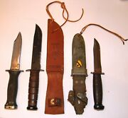 Collection Of Military Fixed Blade Knives Two With Scabbards