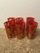 Lot Of 6 Vintage Barware Culver Red 22k Gold Paisley High Ball Glasses Mcm
