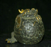 10cm Old Ancient Chinese Bronze Gilt Golden Toad Bat Coin Wealth Lucky Statue
