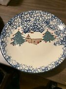 5 Folk Craft Tienshan Cabin In The Snow Dinner Plates 10 3/8andrdquo Red Dots Vintage