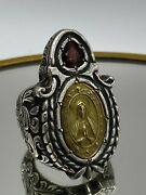 Huge Our Lady Custom Made Stunning Vintage Solid 925 Silver Statement Ring 54g