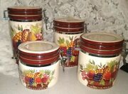 Rare Style Eyes Baum Bros Red Poppy Collection Ceramic Canister Set Never Used
