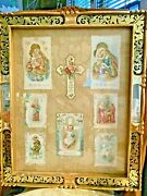 Vintage Framed Die-cut Religious Holy, Prayer Cards Eclectic Art