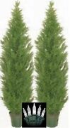 2 Cedar Outdoor Tree 7and039 Topiary Cypress Artificial Bush Pine And Christmas Lights