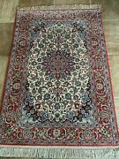 Fine Hand Knotted Vintage Floral Per/sian Fine Silk And Wool 3and039 7 X 5and039 3 Rug