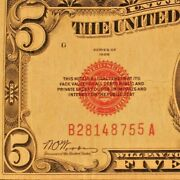 1928 5 United States Note Red Seal On Left F-1525 24 Circulated B/a 7/11 755a