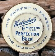 Antique Horlacher's Perfection Beer 10 Tin Vienna Art Plate Brewery Advertising