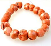 Natural Red Coral Large Chunky Beaded Strand 16inch No Clasp Vintage