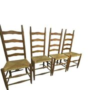 Antique Vintage Solid Wood Ladderback Dining Chairs W Rush Seating Set Of 4