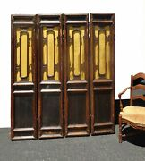 Antique Asian Chinoiserie Room Divider Four Panel Screen W Gold Silk