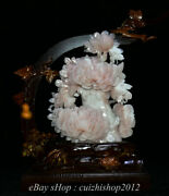 17 Chinese Natural Pink Jade Carved Peony Flower Butterfly Ornament Sculpture