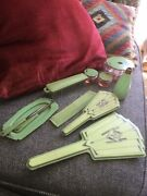 Art Deco Dressing Table Set 14 Piece Lucite . Early Plastic. Pale Green. Vgc