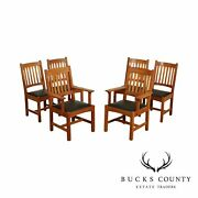 Stickley Mission Collection Set 6 Cherry Cottage Dining Chairs