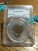 1914-d Pcgs Vf25 - Key Date - Lincoln Cent .