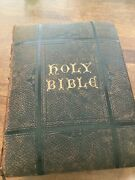 Antique Vtg Family Bible Pictorial Holman Self Explanatory Tongues Edition