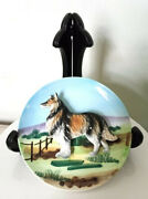 Vintage Collie Dog Plate High Relief 3d Hand Painted Thames Japan