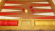Vintage Crisloid Backgammon Set Marbled Red Yellow Bakelite Checker In Case