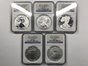 2011 Silver Eagle 25th Anniversary 5-coin Set - Ngc Ms70 Pf70 - Reverse Proof +