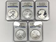 2011 Silver Eagle 25th Anniversary 5-coin Set - Ngc Ms69 Pf69 - Reverse Proof, +
