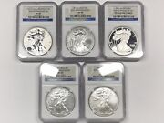 2011 Silver Eagle 25th Anniversary 5-coin Set - Ngc Ms69 Pf69 - Reverse Proof +