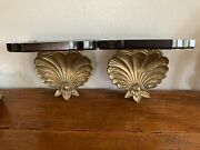 Vintage Pair Of Wall Shelves With Brass Shell Base