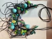 Stunning Theresa Goodall Handcrafted Signed Summer Colors Beaded Fringe Necklace