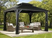 Gazebo 10and039 X 12and039 Pool Patio Sun Shelter Steel Roof + Mosquito Netting Gray
