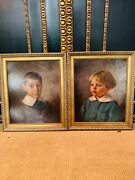 2 Beautiful Children Portrait Oil On Canvas Signed And Dated H.greinke 1925