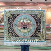 Yilong 4and039x3and039 Handmade Silk Rug Mosque Pictorial Indoor Tapestry Carpet Tj220a