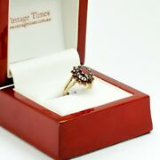 Antique Garnet Ring In Yellow Gold With Oval Shaped Garnet Dress Ring