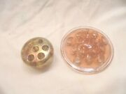 Vintage Amber Colored Round Glass Flower Fogs Lot Of 2