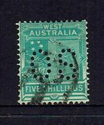 Western Australia State Stamp...1902 - 1912 5/- Shilling Perf Os..used