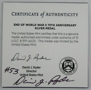 2020 W End Of World War Ii 75th Anniversary Silver Proof Medal +signed Coa 53