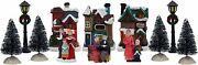 12 Pc Christmas Village Tabletop Decorations Houses Trees Poles And Figurines