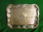 Silver Plated Antique Tray, Large Size, Victorian Square And Fancy Border C- 1860