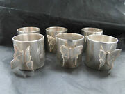 Set Of 6 Napkin Ring With Butterfly On Top-sterling Silver -probably Chinese
