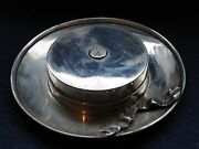 Miniature Novelty Hat Ash Tray Sterling Silver With A Bow Marked Birmingham 1940