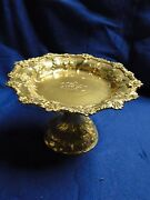Cake Serving Dish Silver Plated And Gilt 1860 English Chased Engraved Marked