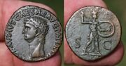 Claudius Ae As Minerva. Great Condition Possibly An Iberian Issue