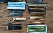 Cross Pens And Pencils Lot 22 Total - Chrome Silver - 10k -12k And 14k Plus Extras