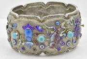 Antique Silver And Enamel Chinese Export Wide Filigree Bangle Bracelet 61.5 Grams