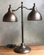 Vintage Mcm Brass And Aluminum Library Desk Lamp Dual Arms Adjustable Antique