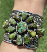 Navajo Sterling Silver Sonoran Gold Turquoise Cluster Cuff Bracelet. T Jon