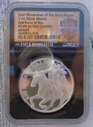 1 Oz. Red Horse Of War 0449 Ultra Cameo Round .999 Fine Silver Ngc Pf69