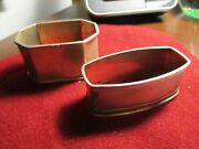 Lot Of 2 Antique Rectangular Sterling Silver Napkin Rings